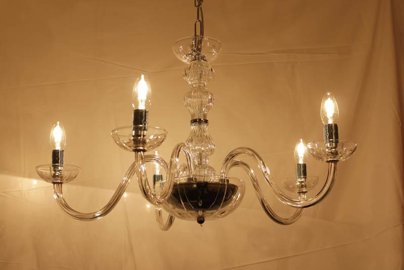 Lampada Cristallo sospensione 5 luci cromo