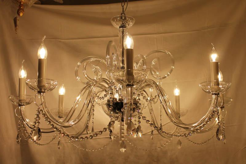Lampada Cristallo sospensione cromo 8luci