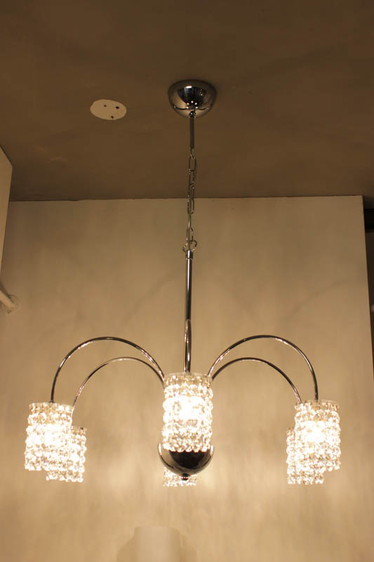 Lampada Sospensione cromata 6luci con swarovski